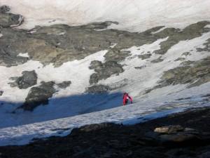 L'uscita dalla parete OSO della Punta Chalanson 3466 m